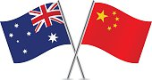 Chinese and Australian flags. Vector.