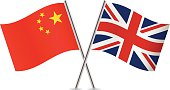 Chinese and British flags. Vector.