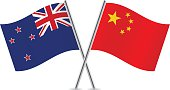 Chinese and New Zealand flags. Vector.