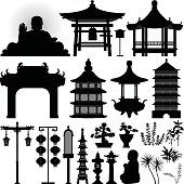Chinese Asian Temple Shrine Relic in Silhouette Vector