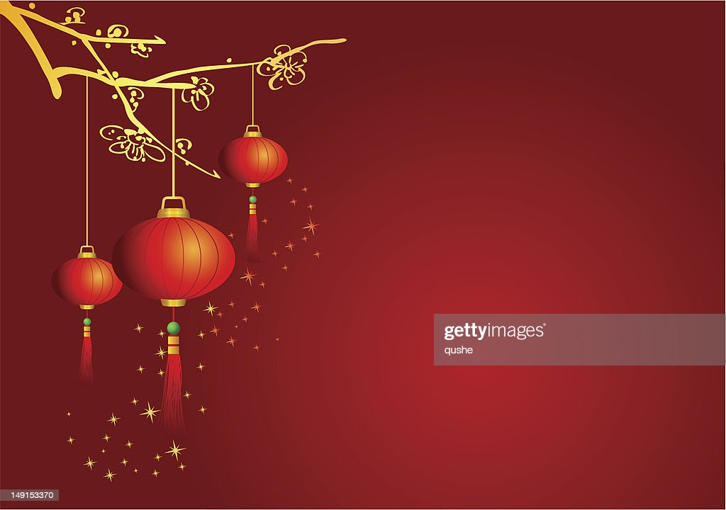 Chinese Background with Lanterns