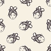 Chinese Beijing opera doodle seamless pattern background