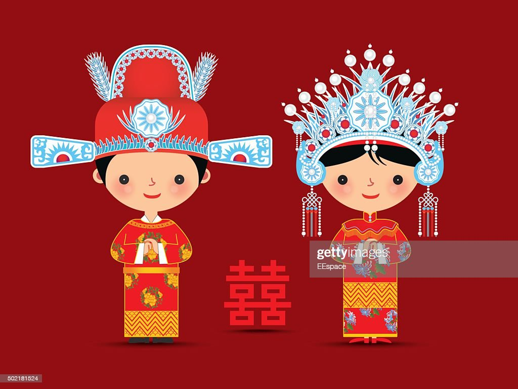 Chinese bride and groom cartoon wedding