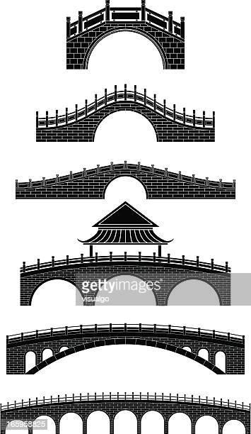 illustrazioni stock, clip art, cartoni animati e icone di tendenza di ponti cinese - ponte ad arco