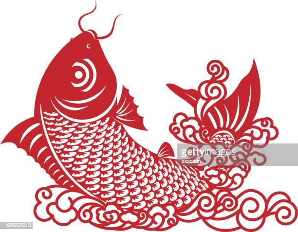 illustrations, cliparts, dessins animés et icônes de carpe chinoise en papier découpé art - carpe