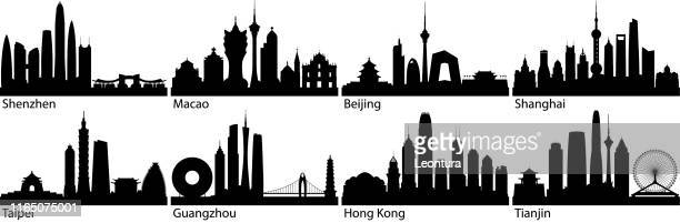 chinese cities (all buildings are complete and moveable) - macao stock illustrations