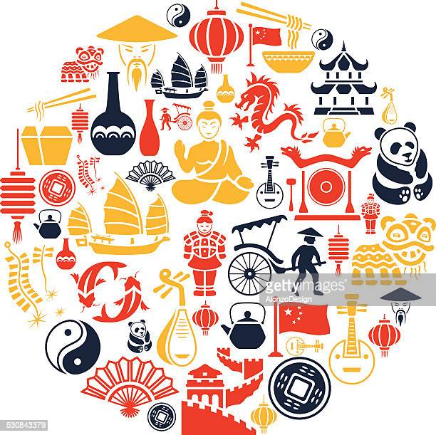 chinese collage - chinese takeout stock illustrations