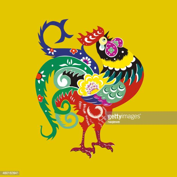 chinese cue paper style cock pattern - tribal art stock illustrations