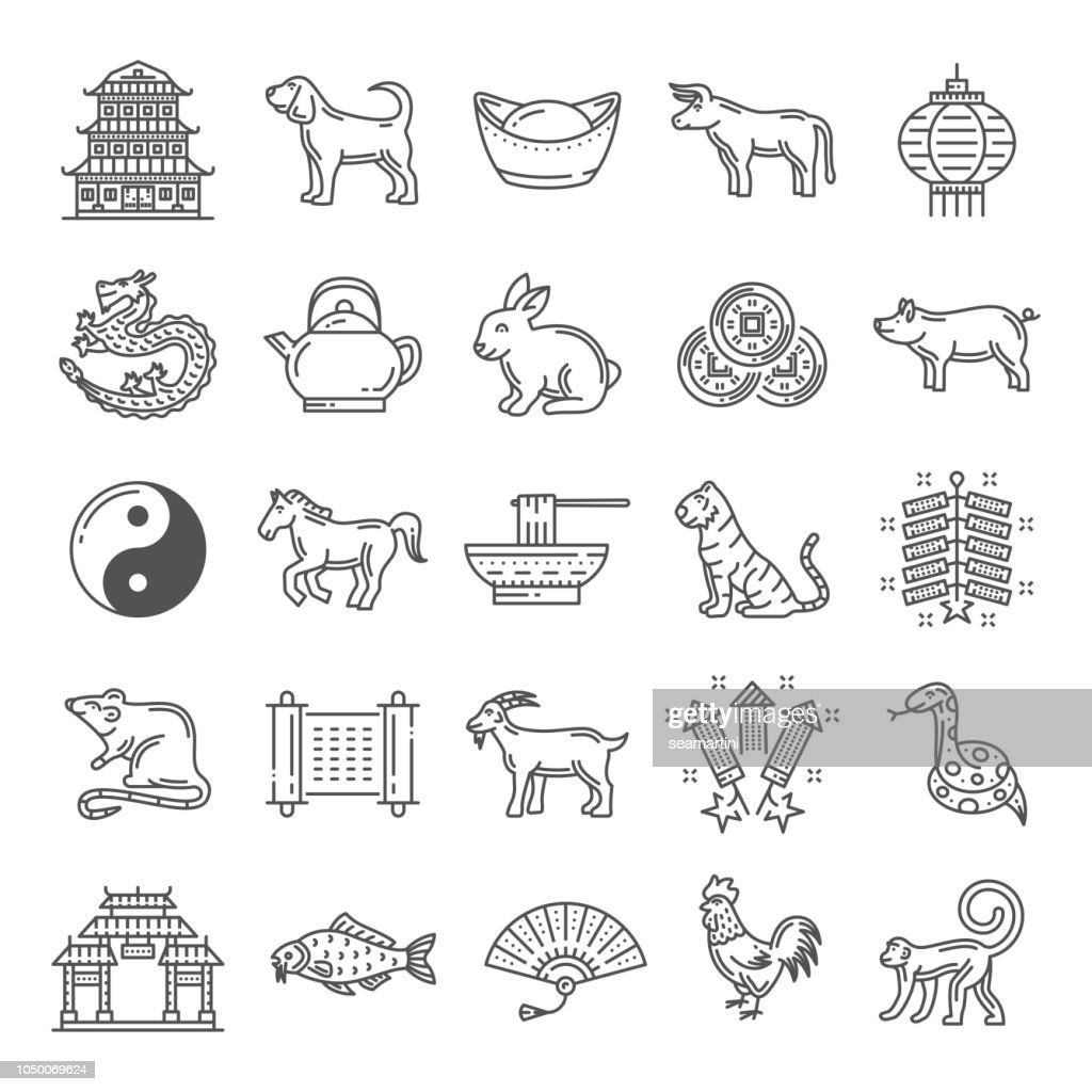 Chinese culture line art icons with zodiac animals