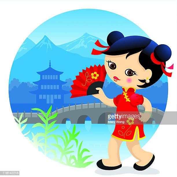 chinese cute girl - updo stock illustrations, clip art, cartoons, & icons