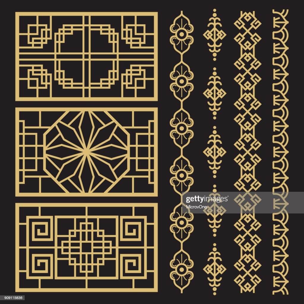 Chinese decoration, traditional antique korean borders and frames
