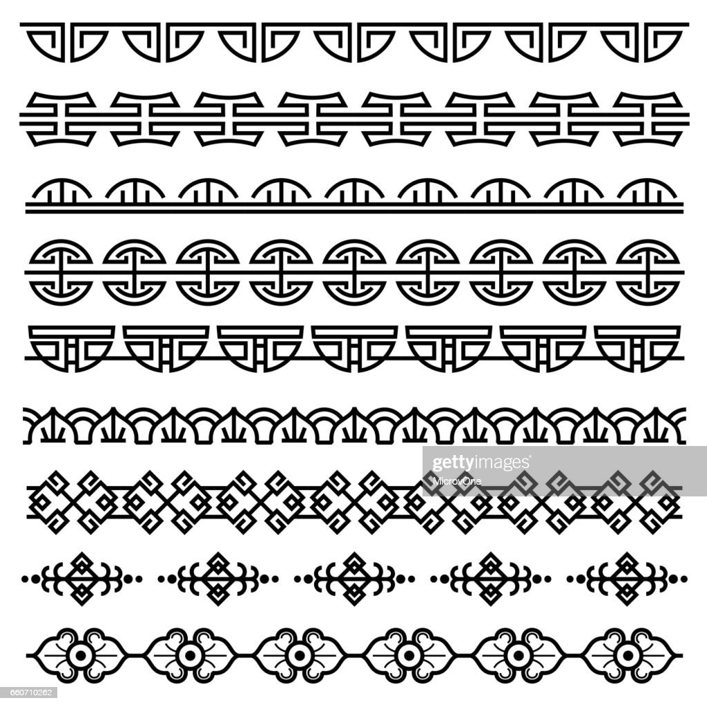 Chinese decoration, traditional antique korean pattern, vector asian seamless borders set