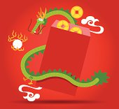 Chinese Dragon and  red pocket