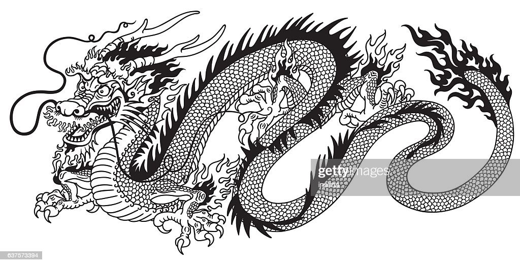 chinese dragon black and white