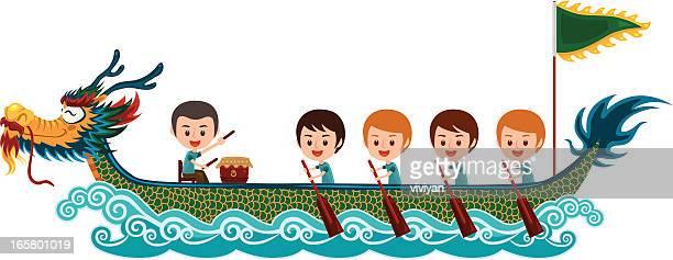 chinese dragon boat racing festival with man team - dragon boat 幅插畫檔、美工圖案、卡通及圖標