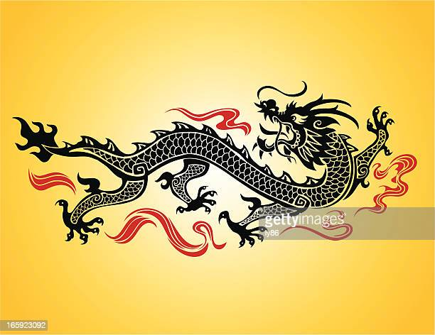 chinese dragon illustration on a yellow background - chinese dragon stock illustrations
