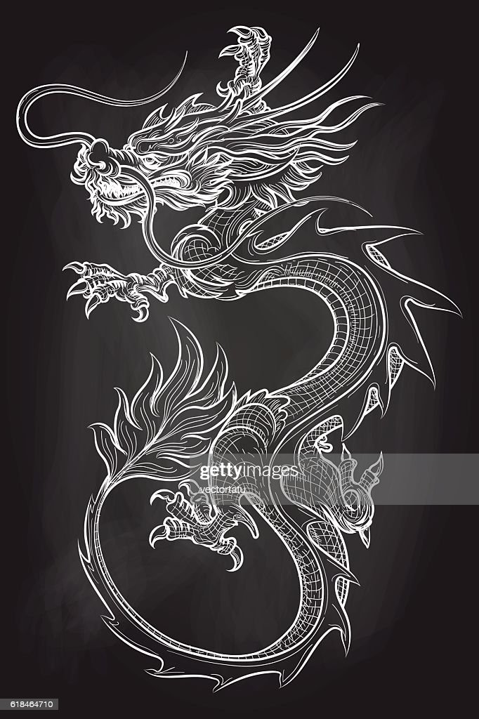 Chinese dragon on chalkboard backdrop