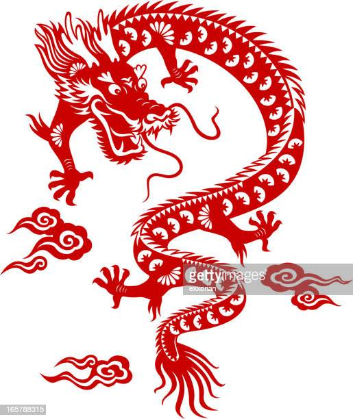 chinese dragon paper-cut art - dragon stock illustrations