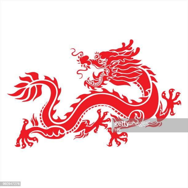 chinese dragon - chinese zodiac sign stock illustrations, clip art, cartoons, & icons