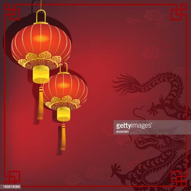 bildbanksillustrationer, clip art samt tecknat material och ikoner med chinese dragon with red lantern - kinesiska lyktfestivalen
