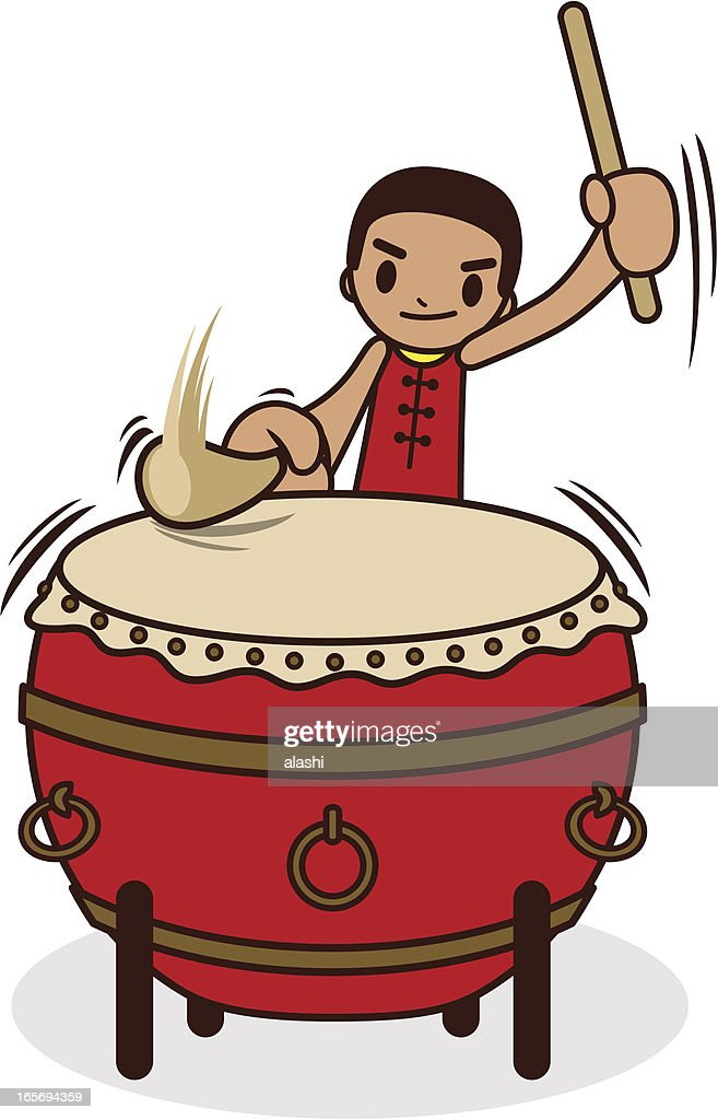 Chinese Drummer Hitting The Large Drum Vector Art
