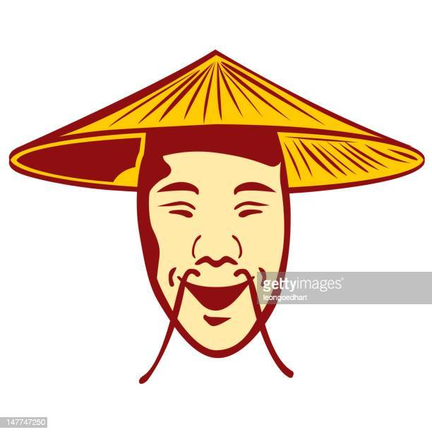 illustrations, cliparts, dessins animés et icônes de chinois visage avec moustache, chapeau - chapeau chinois