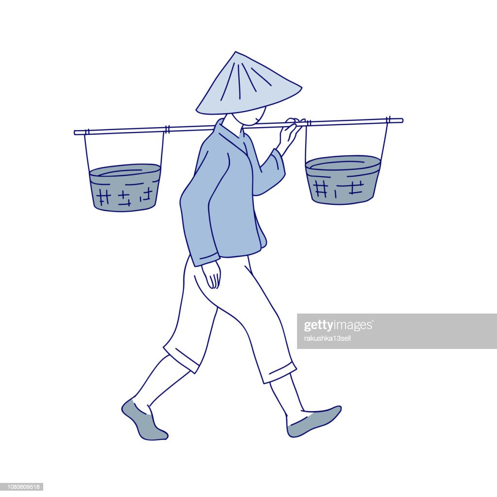 Chinese farmer carries basket on his shoulder. Man labor clothes and traditional round hat with fields. Vector line art illustration of agricultural work in China and Asia.
