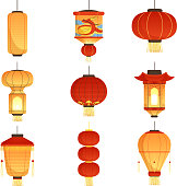 Chinese festival lanterns. China street asian chinatown wedding paper lanterns vector cartoon symbols isolated