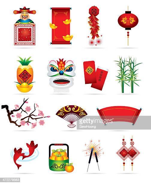 illustrations, cliparts, dessins animés et icônes de chinois icônes fêtes - carpe