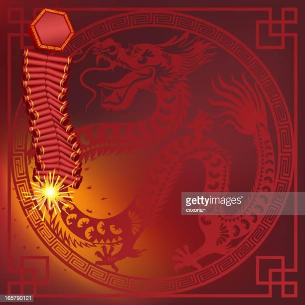 chinese firecracker with dragon frame art - firework explosive material stock illustrations