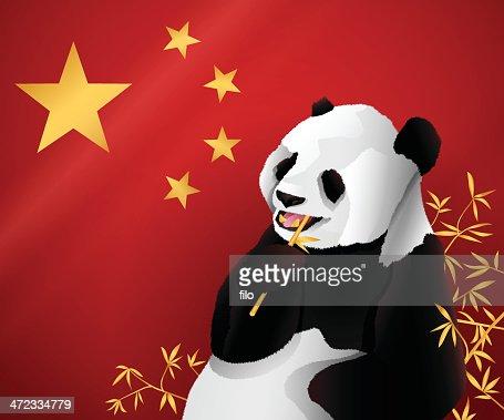Panda Eating Bamboo Illustration