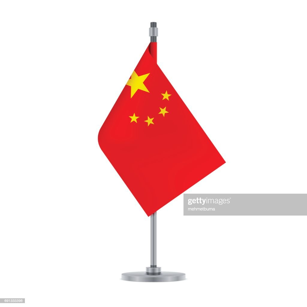 Chinese flag hanging on the metallic pole, vector illustration