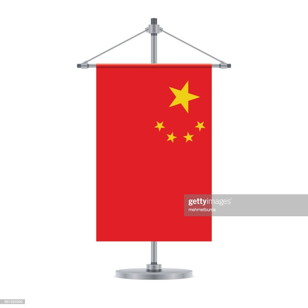 Chinese flag on the cross metallic pole, vector illustration