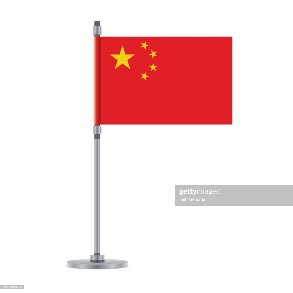 Chinese flag on the metallic pole, vector illustration