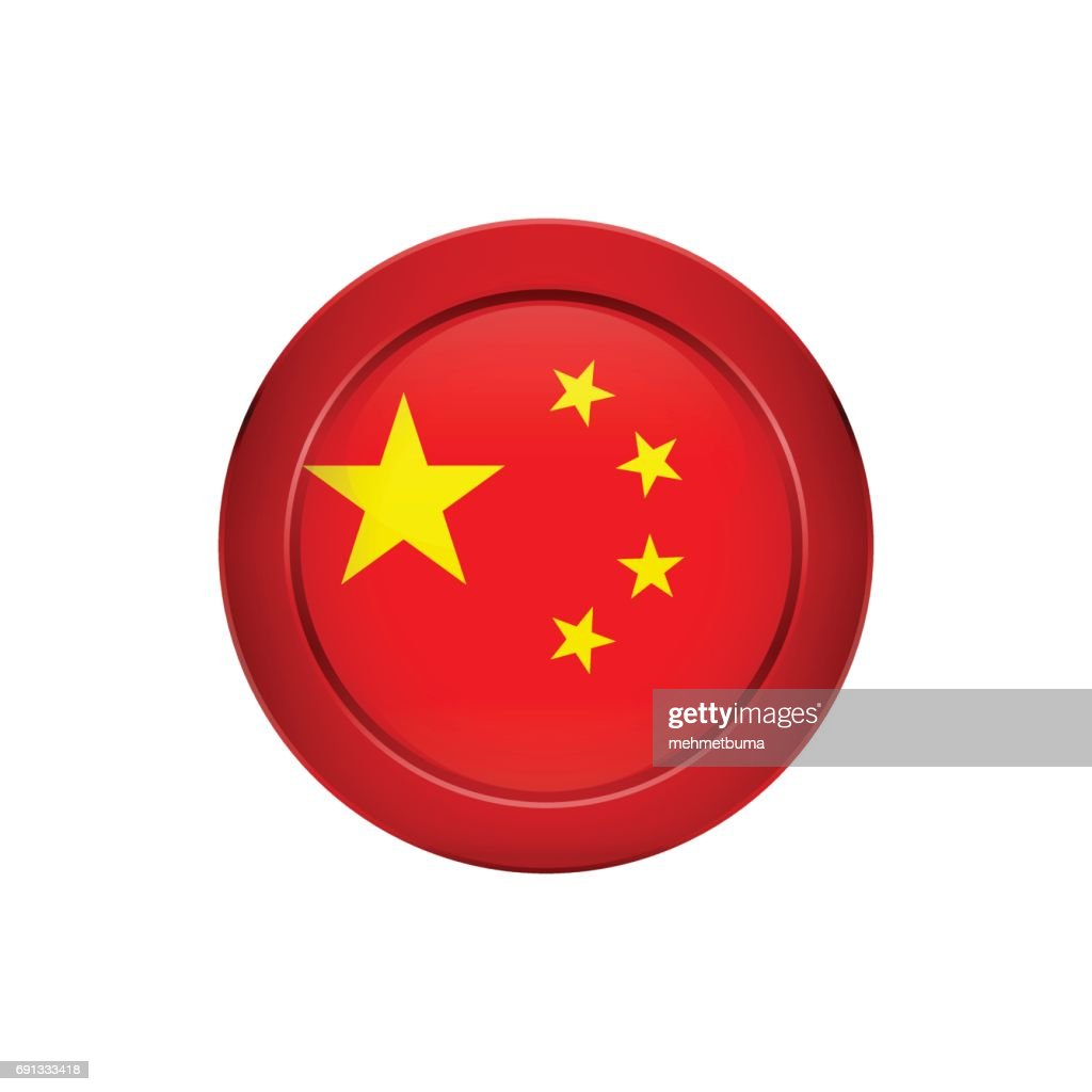 Chinese flag on the round button, vector illustration