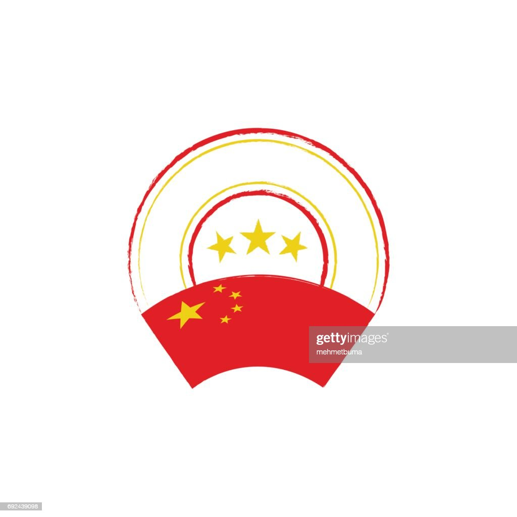 Chinese flag, retro stamp, vector illustration