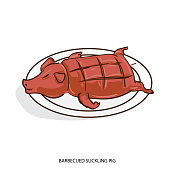 chinese food BARBECUED SUCKLING PIG object hand drawing