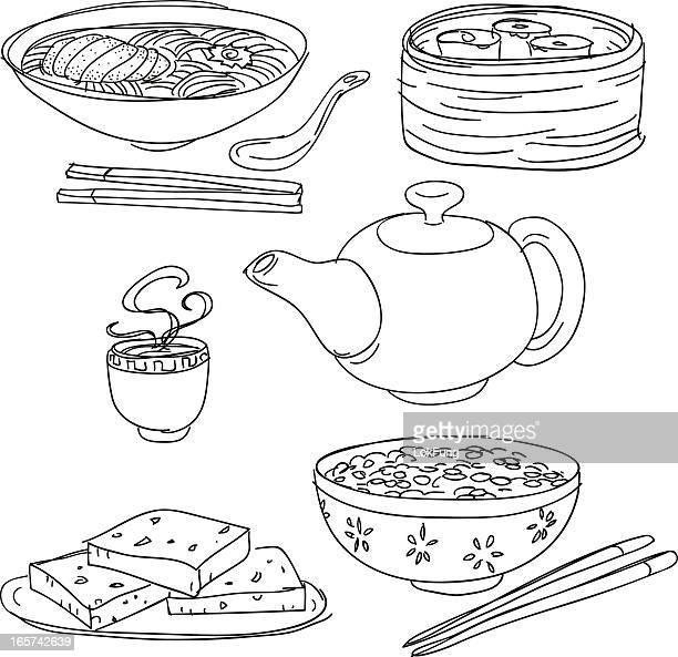 chinese food collection - chopsticks stock illustrations, clip art, cartoons, & icons