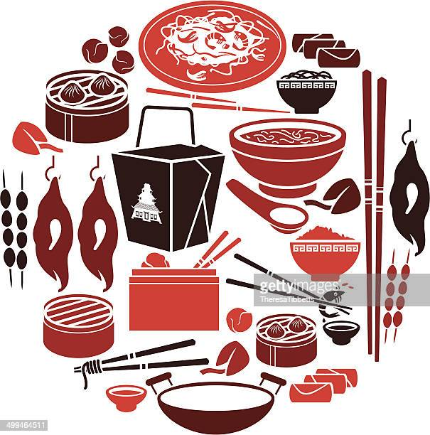 chinese food icon set - chinese takeout stock illustrations