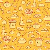 Chinese food iconic seamless pattern
