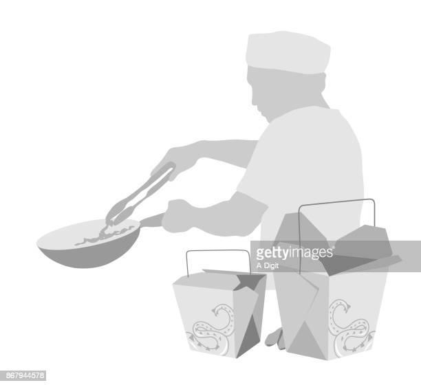 ilustraciones, imágenes clip art, dibujos animados e iconos de stock de comida china para ir - tanga