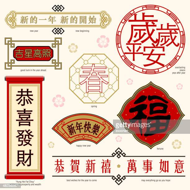 chinese frame and text - chinese ethnicity stock illustrations