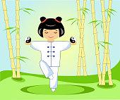 Chinese girl with tai Chi balls