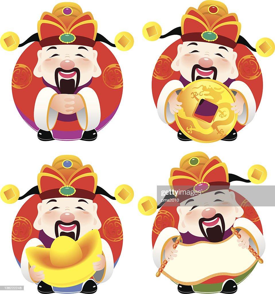Chinese god of prosperity design illustration set