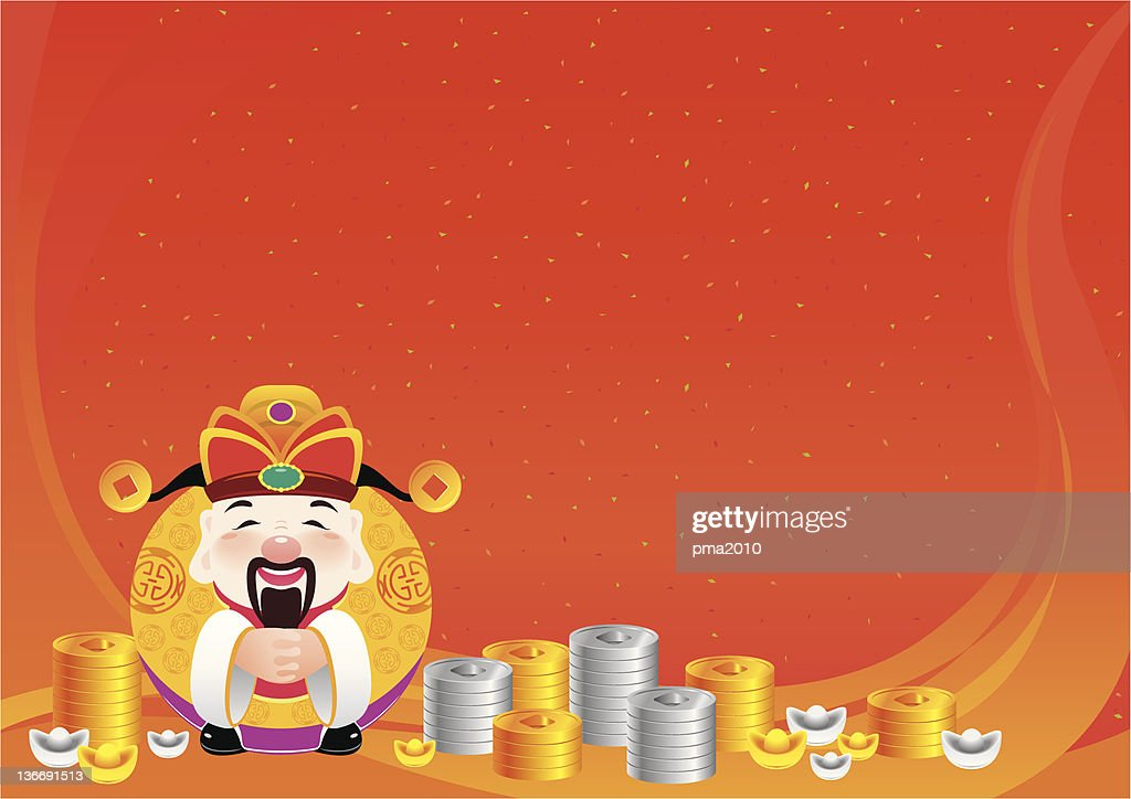 Chinese god of prosperity with traditional luck background