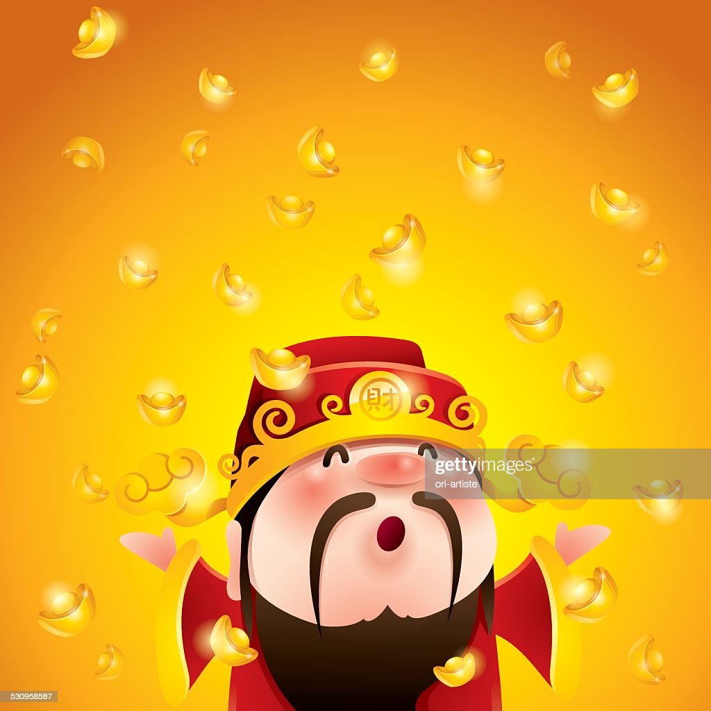 Chinese God of Wealth. Falling gold bullions.