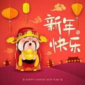 Chinese God of Wealth. Happy New Year. Chinese New Year. Translation : (title) Happy New Year.