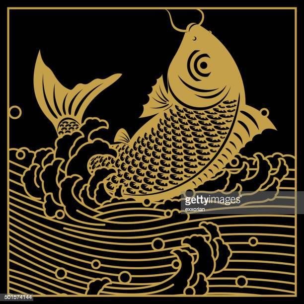 Chinese golden carp art