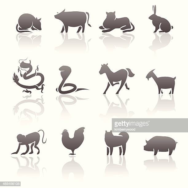 chinese horoscope icon set - year of the sheep stock illustrations
