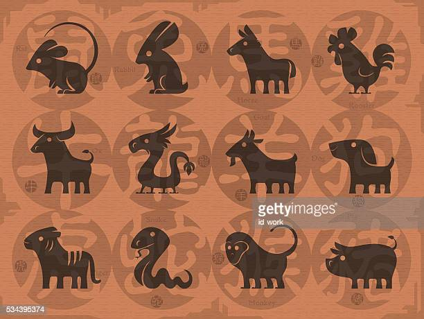 chinese horoscope signs - chinese zodiac sign stock illustrations, clip art, cartoons, & icons